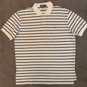 Polo Ralph Lauren White Stripe Polo Shirt Mens XL